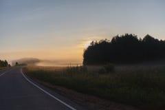 Estrada enevoada através dos campos verdes com sinais de estrada e baixa visibilidade Imagens de Stock Royalty Free