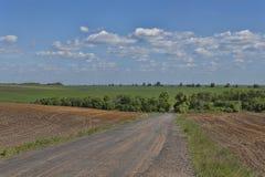 A estrada entre as terras alqueivados Foto de Stock