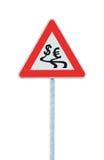 Estrada escorregadiço do dólar da flutuação de moeda euro- Foto de Stock Royalty Free