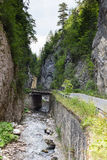 Estrada estreita do motor ao longo de um rio da montanha no desfiladeiro das montanhas de Rhodope Foto de Stock