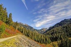 Estrada estreita que conduz para juntar lagos Fotografia de Stock