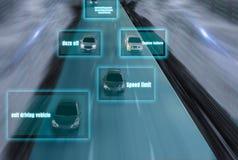 Estrada futurista do gênio para o auto inteligente que conduz carros, Arti ilustração royalty free