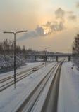 Estrada gelada Fotos de Stock