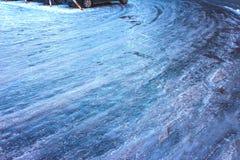 Estrada gelada no inverno Fotografia de Stock