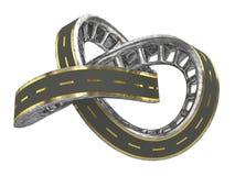 Estrada infinita com linhas douradas Imagem de Stock
