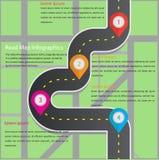 Estrada infographic com ilustração colorida do vetor do ponteiro do pino ilustração royalty free