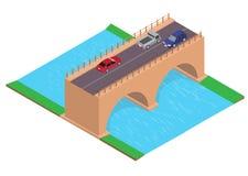 Estrada isométrica na ponte ilustração royalty free