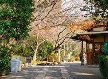 Estrada a jardinar no templo de Kinkaku-ji, Kyoto, Japão fotografia de stock
