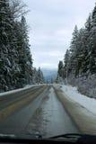Estrada lamacenta do inverno imagens de stock
