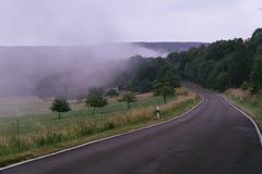 Estrada mágica em uma floresta misteriosa com névoa foto de stock