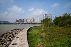 Estrada média da ilha dos amantes do cão selvagem do beira-mar de Zhuhai, músicas do mar Fotos de Stock