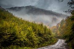 Estrada místico nas montanhas Fotografia de Stock