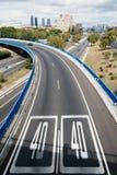 Estrada M30 no Madri um o dia nebuloso Fotografia de Stock
