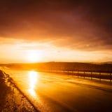 Estrada molhada Fotos de Stock Royalty Free