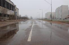 Estrada molhada Imagens de Stock