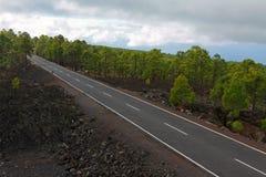Estrada na lava congelada na cratera Foto de Stock