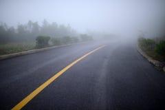 Estrada na névoa pesada Foto de Stock
