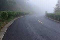 Estrada na névoa pesada Fotografia de Stock