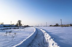 Estrada na neve imagem de stock