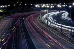 Estrada na noite fotografia de stock