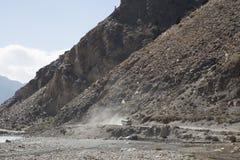 Estrada na região de Annapurna, Nepal da poeira Foto de Stock Royalty Free