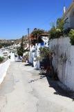 Estrada na vila de Archangelos fotos de stock