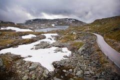 Estrada nacional 55 Sognefjellsvegen no tempo enevoado, Norw do turista Imagens de Stock Royalty Free