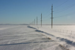 Estrada nevado Fotos de Stock