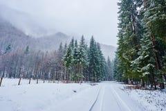 Estrada nevado nas montanhas Imagem de Stock Royalty Free