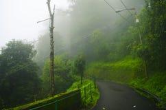 Estrada nevoenta da montanha Imagem de Stock Royalty Free