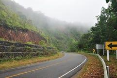 A estrada nevoenta no tempo de manhã Foto de Stock Royalty Free