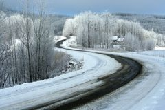 Estrada no inverno fotografia de stock royalty free