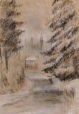 Pele-árvores na neve ilustração royalty free