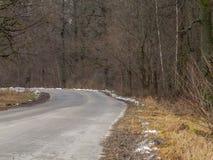 A estrada no outono, na neve de alguns lugares é já visível Foto de Stock Royalty Free