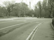 Estrada no parque no sepia Imagens de Stock Royalty Free