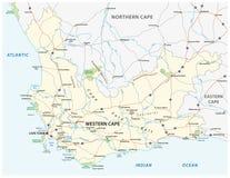A estrada ocidental da província de cabo de África do Sul e o parque nacional vector o mapa fotografia de stock