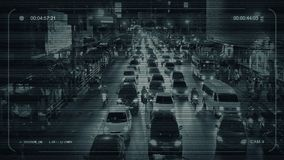 Estrada ocupada do CCTV através da cidade video estoque
