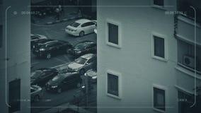 Estrada ocupada do CCTV por apartamentos ilustração stock