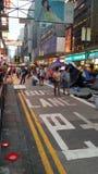A estrada ocupada Protestors de Nathan ocupa os protestos 2014 de Mong Kok Hong Kong a revolução do guarda-chuva que ocupa a cent Fotos de Stock
