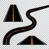 Estrada ou estrada curvada de enrolamento com marcações Sentido, grupo do transporte Ilustração do vetor ilustração stock
