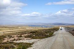 Estrada panorâmico do cascalho em Falkland-2 do leste Fotos de Stock