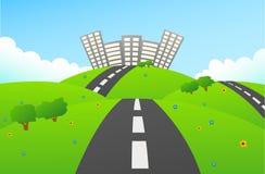 Estrada para esverdear a cidade em montes Ilustração Stock
