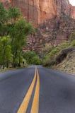 Estrada pavimentada, parque nacional de Zion imagem de stock