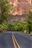 Estrada pavimentada, parque nacional de Zion imagens de stock