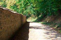 Estrada perto da madeira Fotografia de Stock
