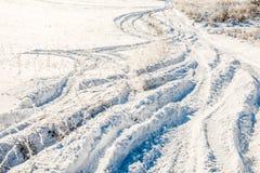 Estrada profunda da neve Fotos de Stock