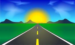 Estrada que dirige ao nascer do sol Foto de Stock Royalty Free