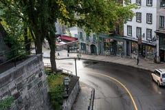 Estrada a Quebec' mais baixa cidade velha de s Fotos de Stock Royalty Free