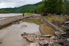 A estrada regional após inundações Fotos de Stock