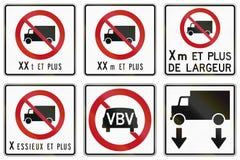 A estrada reguladora assina dentro Quebeque - Canadá Foto de Stock